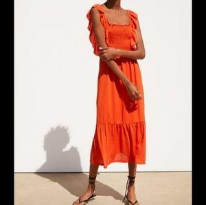 NWT Zara Orange Tiered Midi Dress 1131/411